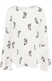 Шелковая блуза с расклешенными рукавами и принтом Van Laack