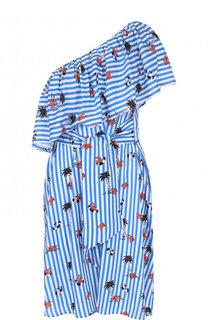 Мини-платье в полоску с оборками Pietro Brunelli