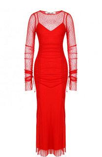 Приталенное платье-миди с длинным рукавом и вырезом-лодочка Diane Von Furstenberg
