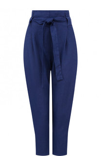 Однотонные льняные брюки с поясом 120% Lino