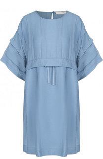 Однотонное мини-платье из смеси вискозы и льна See by Chloé