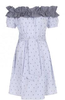 Хлопковое мини-платье с поясом и открытыми плечами Pietro Brunelli