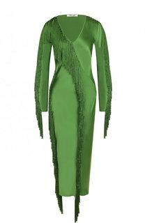 Однотонное приталенное платье-миди с бахромой Diane Von Furstenberg