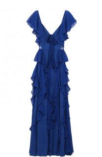 Приталенное платье-макси с оборками и кружевными вставками Elie Saab