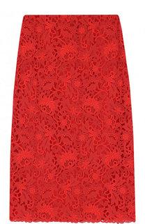 Однотонная кружевная юбка-миди Valentino
