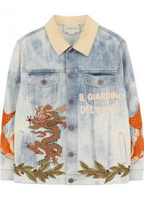 Джинсовая куртка с декоративными потертостями и аппликациями Gucci