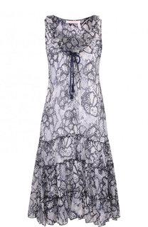 Мини-платье свободного кроя из смеси хлопка и шелка See by Chloé