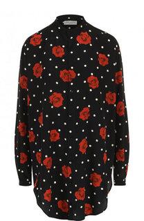 Шелковая блуза свободного кроя с принтом Saint Laurent