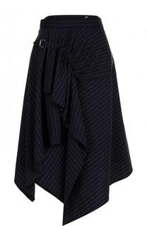 Шерстяная юбка асимметричного кроя в полоску 3.1 Phillip Lim