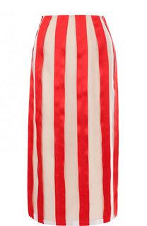 Шелковая юбка-миди в контрастную полоску Kenzo