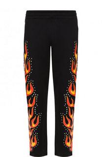 Хлопковые брюки прямого кроя с отделкой Moschino