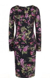 Приталенное платье-миди с цветочным принтом Escada