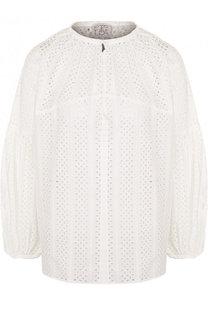 Кружевная блуза с объемными рукавами и круглым вырезом Stella Jean
