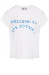 Хлопковая футболка с круглым вырезом и надписью Wildfox