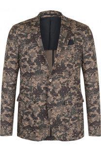 Однобортный хлопковый пиджак с камуфляжным принтом Sand