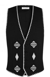 Льняной жилет с контрастной вышивкой Saint Laurent
