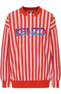Хлопковый свитшот в полоску с логотипом бренда Kenzo
