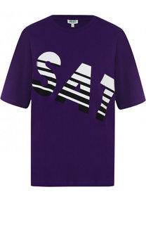 Хлопковая футболка с контрастной надписью Kenzo