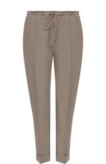 Укороченные однотонные брюки из смеси хлопка и льна Kenzo