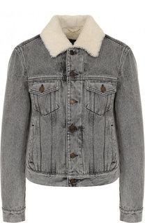 Джинсовая куртка с потертостями и подкладкой из овчины Saint Laurent