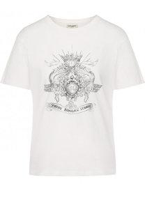 Хлопковая футболка с круглым вырезом и принтом Saint Laurent