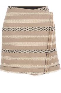 Шерстяная мини-юбка с бахромой Saint Laurent