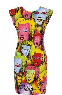 Приталенное мини-платье из вискозы с ярким принтом Versace