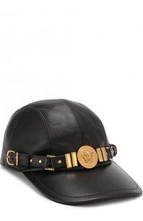 Кожаная бейсболка с декором в виде логотипа бренда Versace