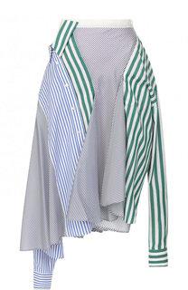 Хлопковая юбка асимметричного кроя в полоску Sacai