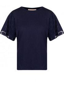 Однотонная хлопковая футболка с круглым вырезом MICHAEL Michael Kors