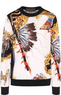 Хлопковый свитшот с принтом и круглым вырезом Versace