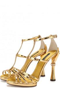 Босоножки Keira из металлизированной кожи на фигурном каблуке Dolce & Gabbana