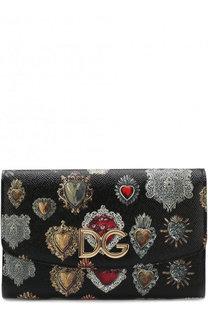 Кожаный кошелек с отделением на молнии на цепочке с принтом Dolce & Gabbana