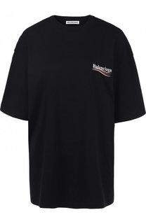 Хлопковая футболка свободного кроя с контрастной надписью Balenciaga