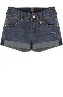 Джинсовые шорты с декоративными потертостями Armani Junior
