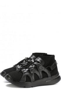 Текстильные кроссовки с кожаной отделкой Alexander McQueen