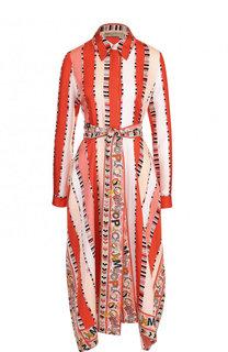 Шелковое платье-рубашка с принтом и поясом Emilio Pucci