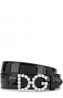Лакированный ремень с фигурной пряжкой и отделкой кристаллами Dolce & Gabbana