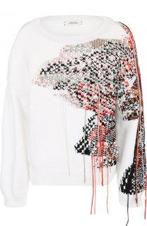 Хлопковый пуловер с контрастной вышивкой Dorothee Schumacher