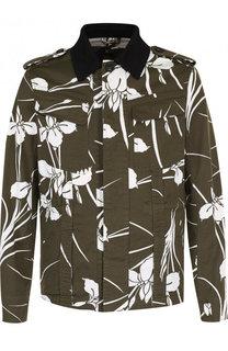 Куртка с принтом на пуговицах и отложным воротником No. 21