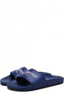 Кожаные шлепанцы Pool с логотипом бренда Balenciaga