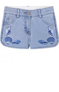 Джинсовые шорты с вышивкой Stella McCartney
