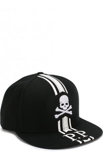 Хлопковая бейсболка с вышивкой в виде черепа и логотипом бренда Philipp Plein