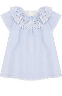 Хлопковое мини-платье свободного кроя с вышивкой Chloé