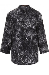 Шелковая блуза свободного кроя с принтом Windsor