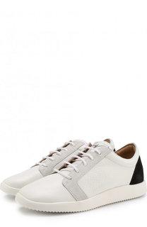Кожаные кроссовки с отделкой из замши Giuseppe Zanotti Design