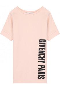 Хлопковое мини-платье прямого кроя с логотипом бренда Givenchy