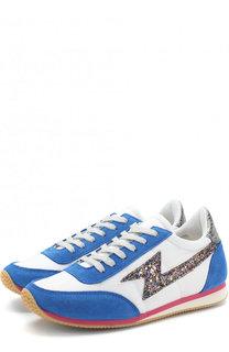 Текстильные кроссовки с замшевой отделкой и глиттером Marc Jacobs