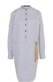 Приталенное хлопковое платье-рубашка в полоску Windsor