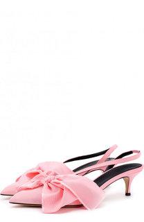 Текстильные туфли Emma с бантом на каблуке kitten heel Aleksandersiradekian